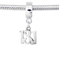 Sterling Silver 13.1 cutout script charm on Charm carrier. Fits Pandora