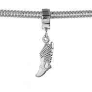 Sterling Silver winged running shoe European dangle bead. Fits Pandora.