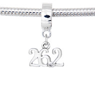 Sterling Silver 26.2 scripted charm on a Pandora style charm carrier.