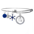 13.1 Cubic Zirconia encircled pendant on an adjustable bangle bracelet with a sapphire studded snowflake and clear and blue pave beads.