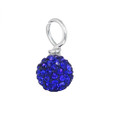 blue pave round crystal drop