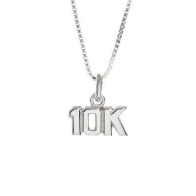 Sterling Silver 10K cut out charm on a sterling silver box chain.