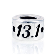Round 13.1 Half Marathon European bead made of Sterling Silver . Fits Pandora.