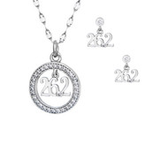 26.2 script charm hanging from a circle of cubic zirconias with matching 26.2 earrings.
