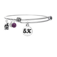 5K bangle bracelet with 5K round charm and pave bead drops