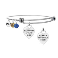 Boston Marathon Runner Custom Engraved Heart Bangle with Race Time
