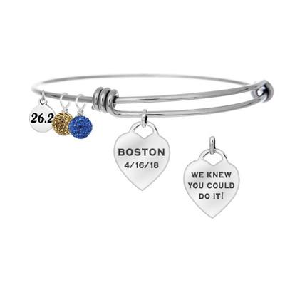 Boston Marathon Runner Custom Engraved Heart Bangle