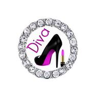 Running Diva Heels & Lipstick Rhinestone Sneaker Charm