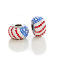 Red, white and Blue Swarovski crystal beads. Fits Pandora.