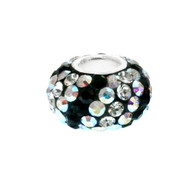 Black and Clear crystal Pandora style bead