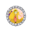 I dream of Jeannie Sneaker charm with a rhinestone frame. Yellow background.