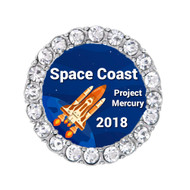 2018 Space Coast Marathon Round shoelace charm.