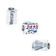 3 sided Space Coast Marathon bead showing all 3 sides, side 1-Mercury, side 2- the year 2018, and 3rd side shows a raised Mercury capsule.
