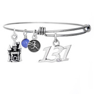 13.1 Script pendant and castle charm on a bangle bracelet.