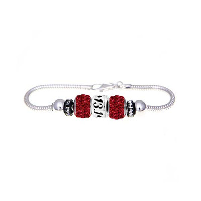 13.1 Marathon bead with 2 red Swarovski crystals on a Sterling silver European bracelet.