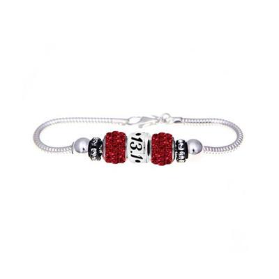 13.1 Marathon bead with 2 red Swarovski crystals on a Sterling silver European bracelet.