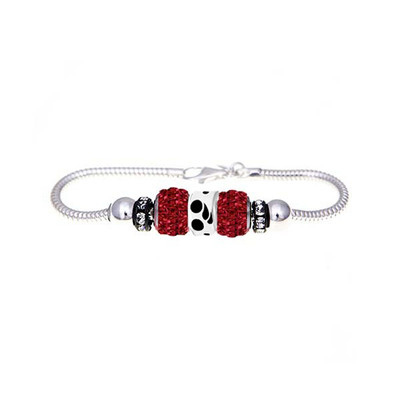 Triathlon European bracelet with red crystal beads and triathlon symbol bead.