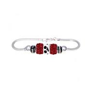 Triathlon European bracelet with red crystal beads and triathlon symbol bead.