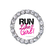 Round Sneaker charm with Run like a girl graphic in a rhinestone frame.