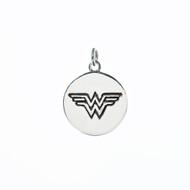 Wonder Woman logo on sterling silver round pendant.