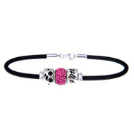 Triathlon 140.6 Ironman European rubber bracelet with pink crystal