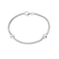 Sterling Silver Zable starter bracelet comes with two sterling silver stopper beads.