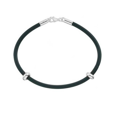 European starter bracelet made of durable rubber with sterling silver clasp. Comes with 2 sterling silver stopper beads.