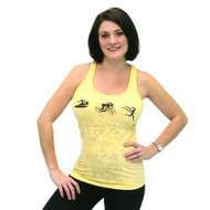 Banana cream yellow burnout  tank top with swim, bike and run girls on front.