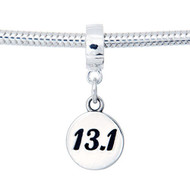 Sterling Silver 13.1 Half Marathon European Dangle Bead