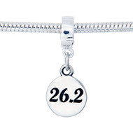 Sterling Silver 26.2 Charm, European Dangle Bead