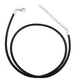 Black rubber cord necklace with adjustable clasp.