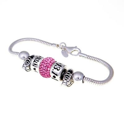 European Bracelet with 2 running shoe beads, pink swarovski crystal bead, RUN bead, and 13.1 bead.