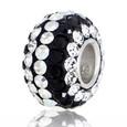 Black and clear striped Swarovski Crystal bead.