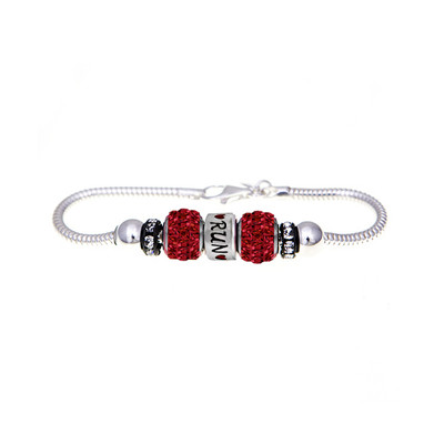 runner bracelet with red pave European beads.