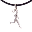 Sterling Silver runner girl charm on a black rubber cord necklace.