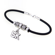 Rubber European bracelet with a 5K dangle bead and spacers.