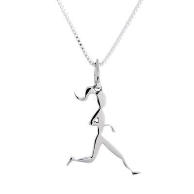 Sterling Silver runner girl on box chain.