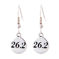 Sterling silver 26.2 marathon earrings on french ear wires.