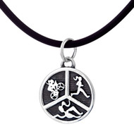Triathlon charm cord necklace featuring swimmer girl biker girl and runner girl symbols.