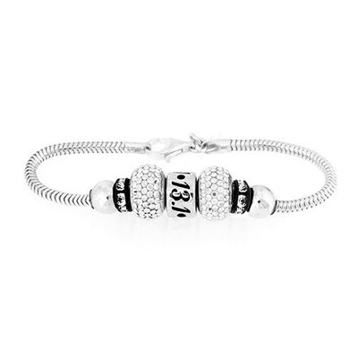 Front view of Sterling Silver European bracelet with 13.1 bead and crystal beads.