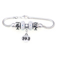 Front view of sterling silver european bracelet with 39.3 13.1 and 26.2 beads.