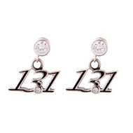 13.1 cursive style earrings on cubic zirconia posts.