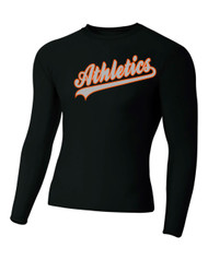 Black A4 Long Sleeve Tight Fit Drifit Shirt w/ Logo