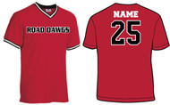 NEVADA ROAD DAWGS RED V-NECK WITH NUMBER AND NAME