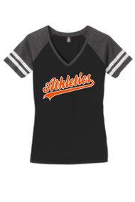 ATHLETICS BLACK LADIES V-NECK GAME DAY SHIRTH WITH SCRIPT LOGO