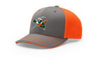 HOPPERS BASEBALL GREY / ORANGE FLEXFIT HAT WITH LOGO AND NUMBER