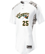 HOPPERS BASEBALL WHITE 2 BUTTON JERSEY WITH LOGO AND NUMBER