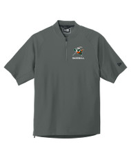 HOPPERS BASEBALL ADULT GRAPHITE SHORT SLEEVE ZIP JACKET WITH LOGO