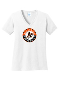 ATHLETICS LADIES V-NECK T-SHIRT WITH CIRCLE LOGO