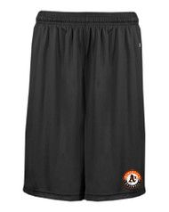 ATHLETICS BLACK POCKETED SHORTS WITH LOGO